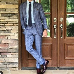 Men's custom blue plaid Italian Suit
